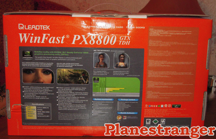 winfast 8800 gtx box rear side