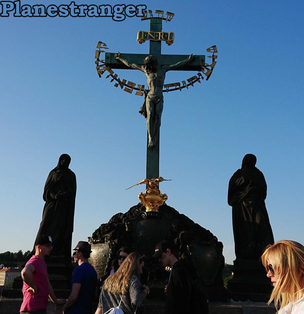 jesus touching monument